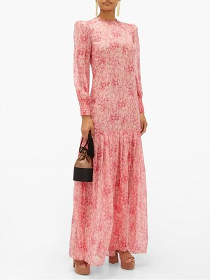 ADRIANA DEGREAS hydrangea-print silk-muslin dress