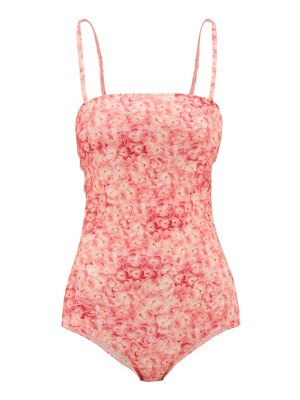 ADRIANA DEGREAS square-neck hydrangea-print swimsuit
