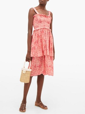 ADRIANA DEGREAS hydrangea-print tiered dress