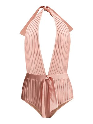 ADRIANA DEGREAS pintucked halterneck swimsuit