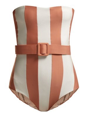 ADRIANA DEGREAS porto striped strapless swimsuit