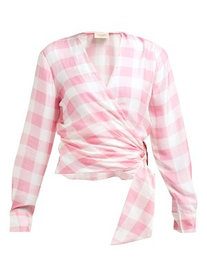 ADRIANA DEGREAS vichy gingham-print wrap top
