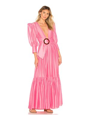 ADRIANA DEGREAS Voluminous Sleeves and Hoop Maxi Dress