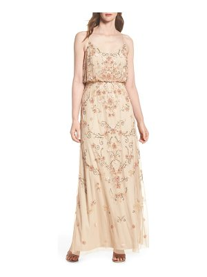 ADRIANNA PAPELL Beaded Floral Blouson Gown