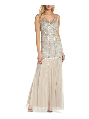 Adrianna Papell beaded sleeveless mermaid gown