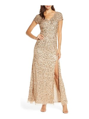 Adrianna Papell beaded v-neck evening gown