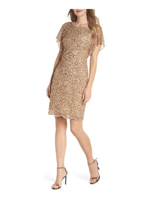 Adrianna Papell embellished flutter sleeve cocktail dress