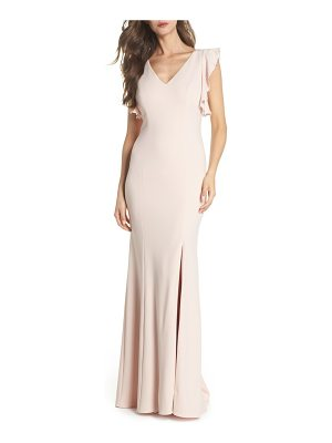 Adrianna Papell flutter sleeve crepe trumpet gown
