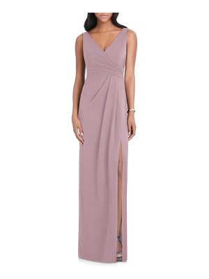 After Six pleated crepe column gown