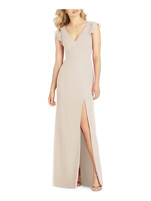 After Six v-neck ruffle sleeve evening dress