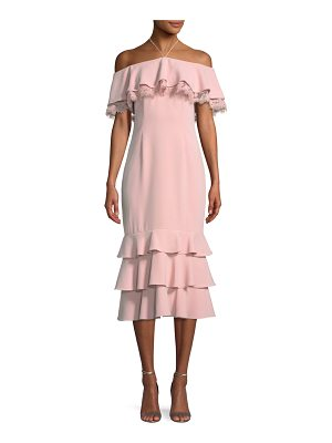 AIDAN BY AIDAN MATTOX Crepe And Lace Cocktail Dress