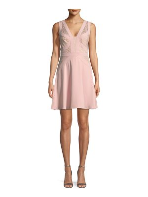 Aidan by Aidan Mattox Crepe and Lace Sleeveless Mini Cocktail Dress