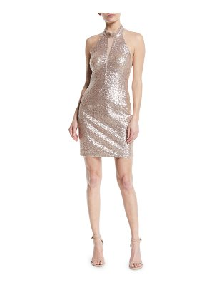 AIDAN BY AIDAN MATTOX Cutout Sequin Halter Mini Dress