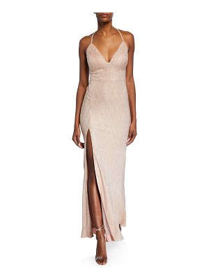 Aidan by Aidan Mattox Foiled-Knit Halter Gown with Strappy Back
