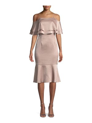 Aidan by Aidan Mattox Hammered Satin Layered Cold-Shoulder Dress