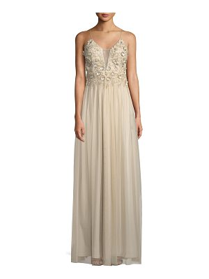 AIDAN BY AIDAN MATTOX Illusion Plunge Gown With Beading And Flowers