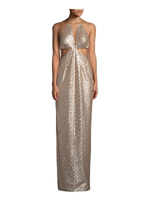 AIDAN BY AIDAN MATTOX Sequin Cutout Column Gown