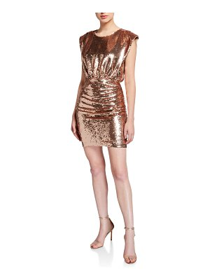 Aidan by Aidan Mattox Sequin Extended Shoulder Blouson Mini Cocktail Dress
