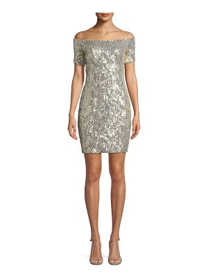 Aidan by Aidan Mattox Sequin Off-the-Shoulder Mini Dress