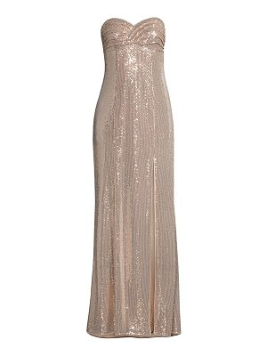 Aidan by Aidan Mattox sequin strapless slit gown