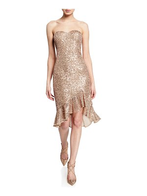 Aidan by Aidan Mattox Strapless Sequined Cocktail Dress w/ Flounce Hem