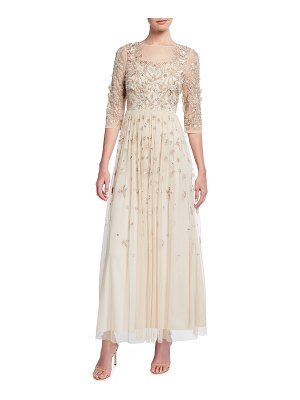 Aidan Mattox 3D Beaded Bodice 3/4-Sleeve Gown