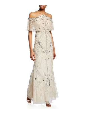 Aidan Mattox Beaded Cold-Shoulder Halter Gown with Popover