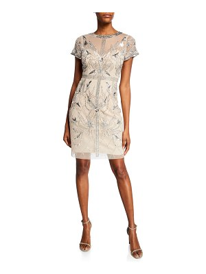 Aidan Mattox Beaded Mesh Short-Sleeve Illusion Cocktail Dress