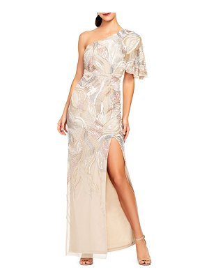 Aidan Mattox beaded one-shoulder gown