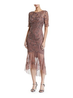 Aidan Mattox Beaded Short-Sleeve Dress w/ Sheer Hem