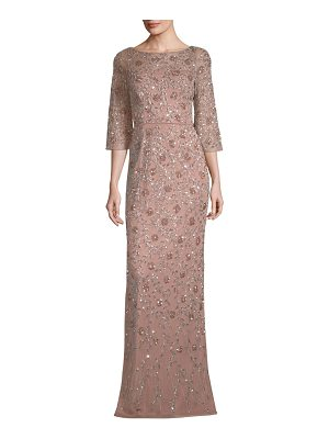 Aidan Mattox embellished three-quarter-sleeve gown