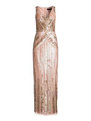Aidan Mattox beaded v-neck column gown
