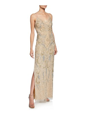 Aidan Mattox Beaded V-Neck Sleeveless Column Dress