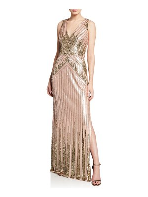 Aidan Mattox Beaded V-Neck Sleeveless Column Gown w/ Slit