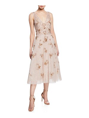 Aidan Mattox Beaded V-Neck Sleeveless Midi Cocktail Dress