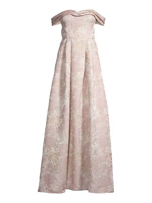 Aidan Mattox brocade off-the-shoulder gown