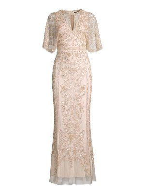 Aidan Mattox cape embellished gown