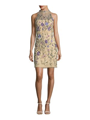 AIDAN MATTOX Embellished Floral Lace Mock-Neck Mini Dress