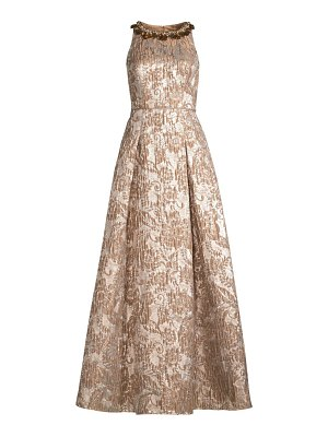 Aidan Mattox embellished jacquard metallic ball gown