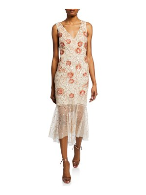 Aidan Mattox Floral Beaded V-Neck Sleeveless Midi Dress
