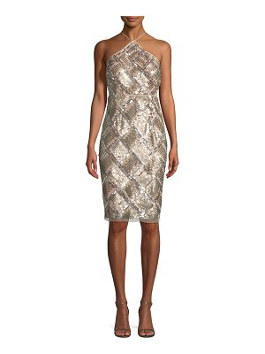 Aidan Mattox Grid Sequined Halter Cocktail Dress