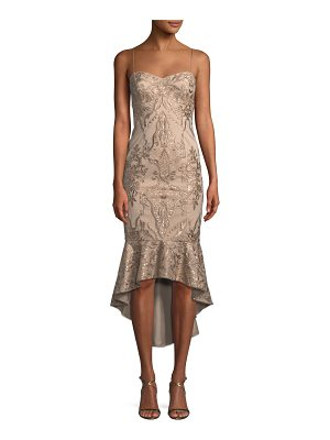 AIDAN MATTOX High-Low Brocade Cocktail Dress