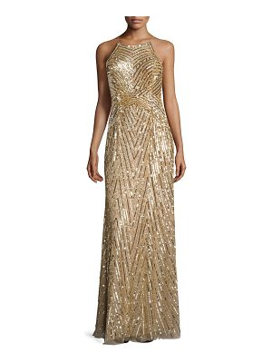 AIDAN MATTOX Metallic Beaded Gown