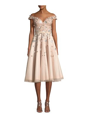 Aidan Mattox Off-the-Shoulder Embellished Cocktail Dress