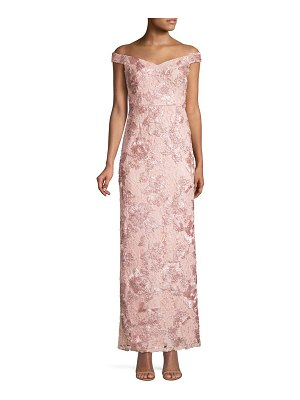 Aidan Mattox off-the-shoulder embellished long dress