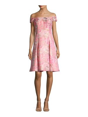AIDAN MATTOX Off-The-Shoulder Floral Jacquard Dress