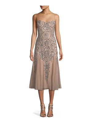 Aidan Mattox Sleeveless Beaded Midi Dress