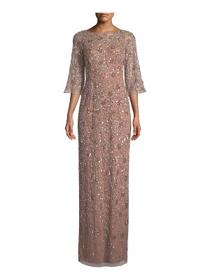Aidan Mattox LONG SLEEVE BEADED GOWN