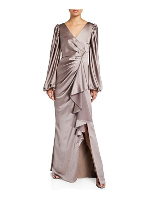 Aidan Mattox V-Neck Satin Leg Of Mutton Sleeve A-Line Gown