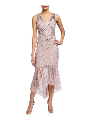 Aidan Mattox V-Neck Sleeveless Beaded Lace Dress